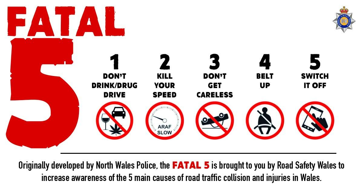 fatal 5 rules of road safety 1. don't drink & drive 2. kill your speed 3. don't get careless 4. belt up 5. switch off